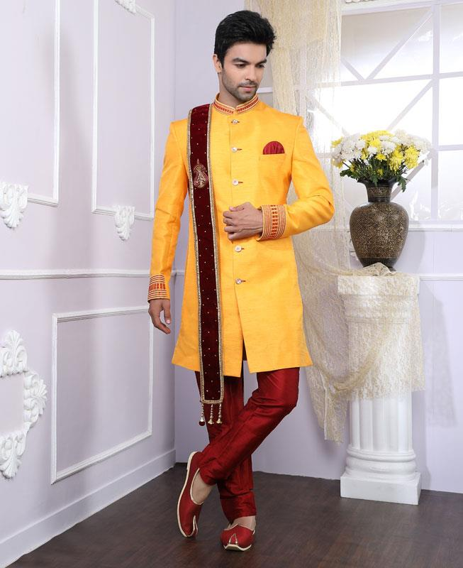 Embroidered Silk Yellow Kurta Pajama