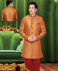 Plain Jute Silk Yellow Sherwani
