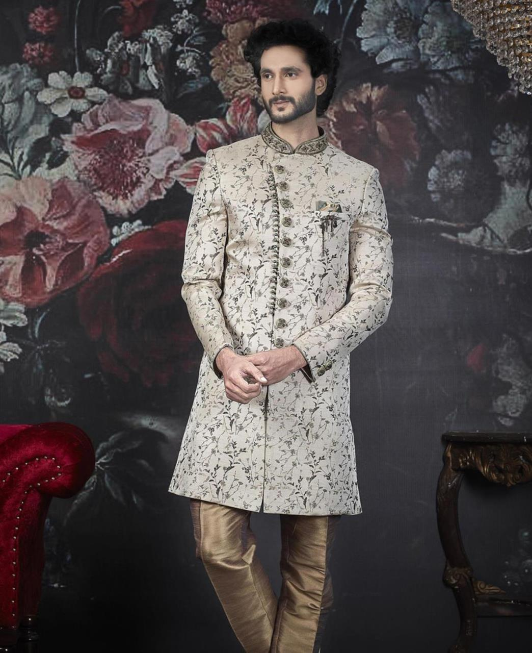 Embroidered Jacquard Cream Kurta Pajama