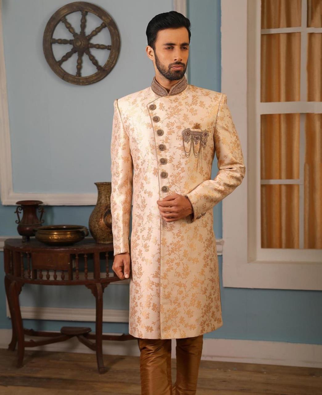 Embroidered Brocade Beige Kurta Pajama
