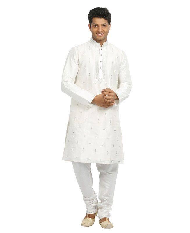 Butta Work Raw Silk White Mens Kurta Pajama