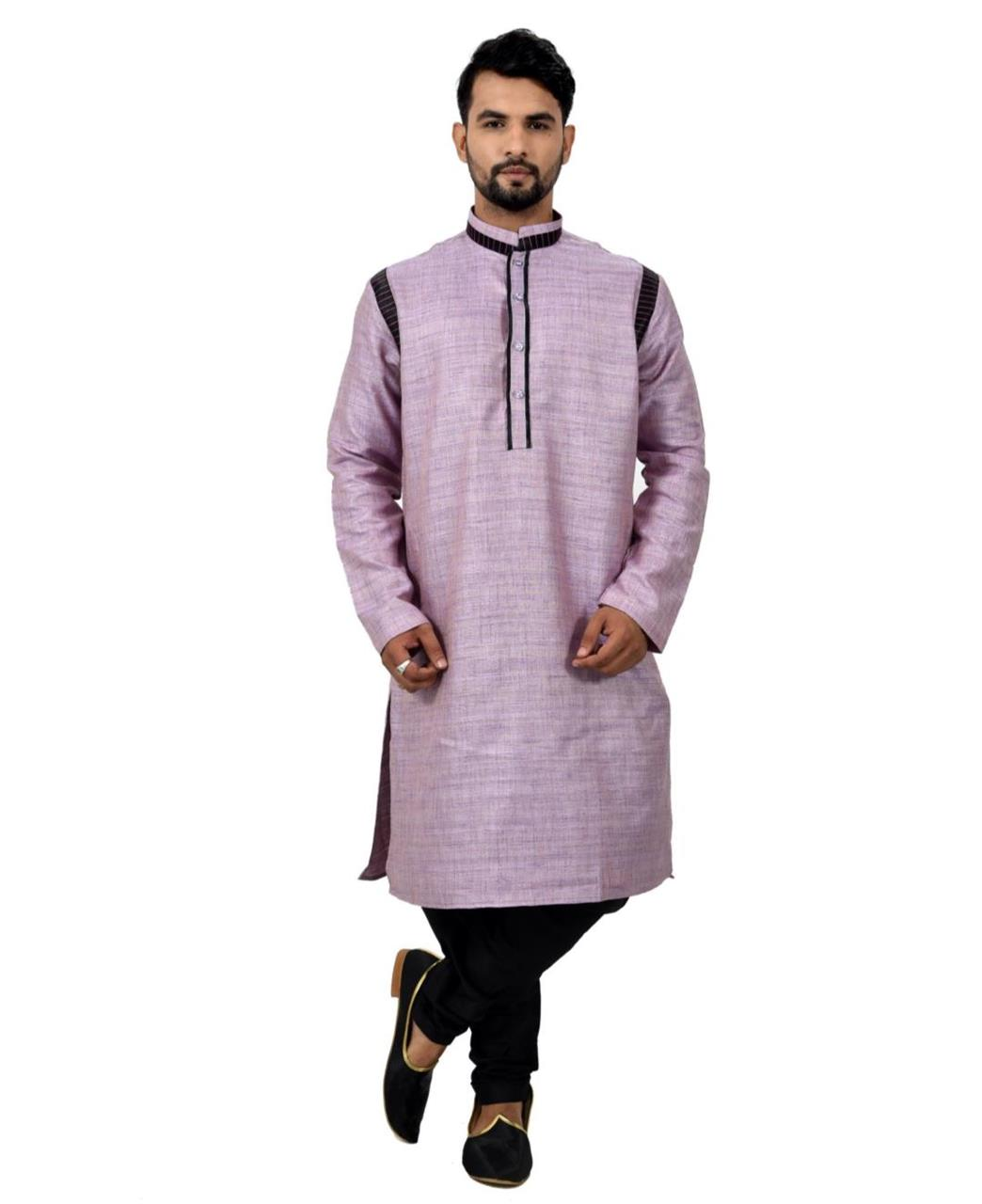 Button Work Silk Violet Sherwani