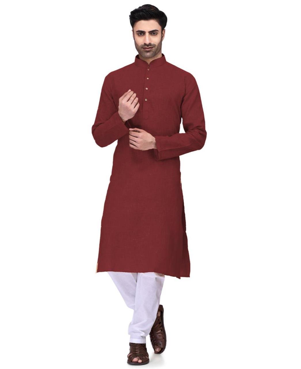 Plain Cambric Cotton Maroon Kurta Pajama