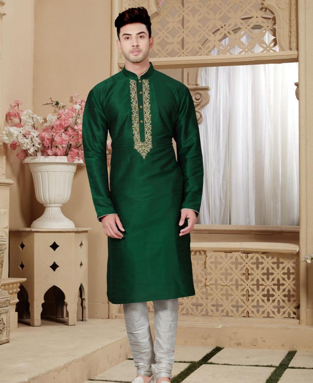 Plain Art Silk Green Kurta Pajama