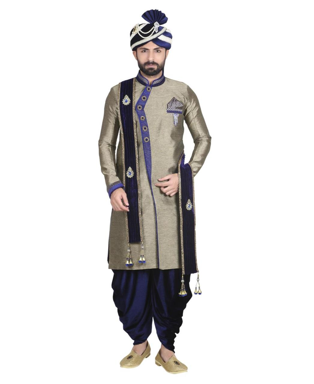 Plain Jacquard Gold Sherwani