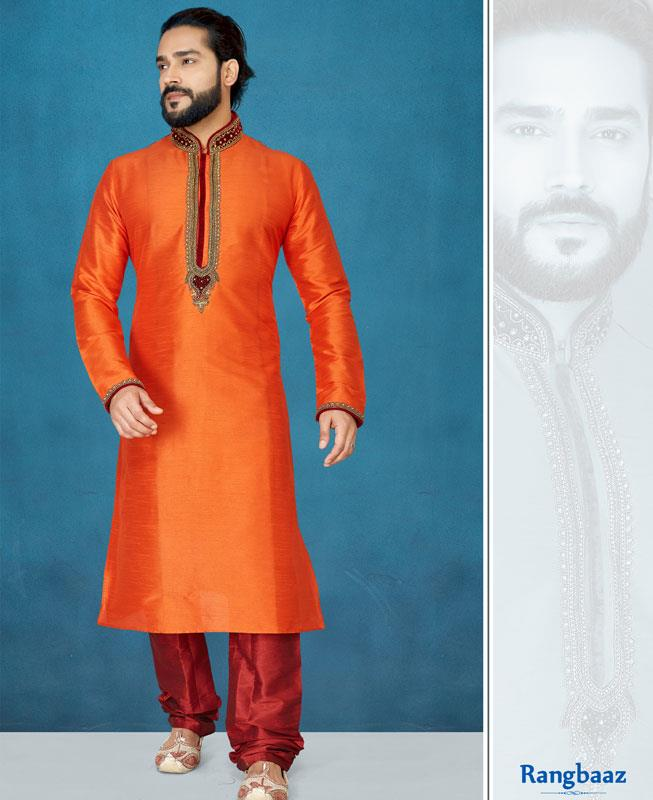 Embroidered Silk Orange Kurta Pajama