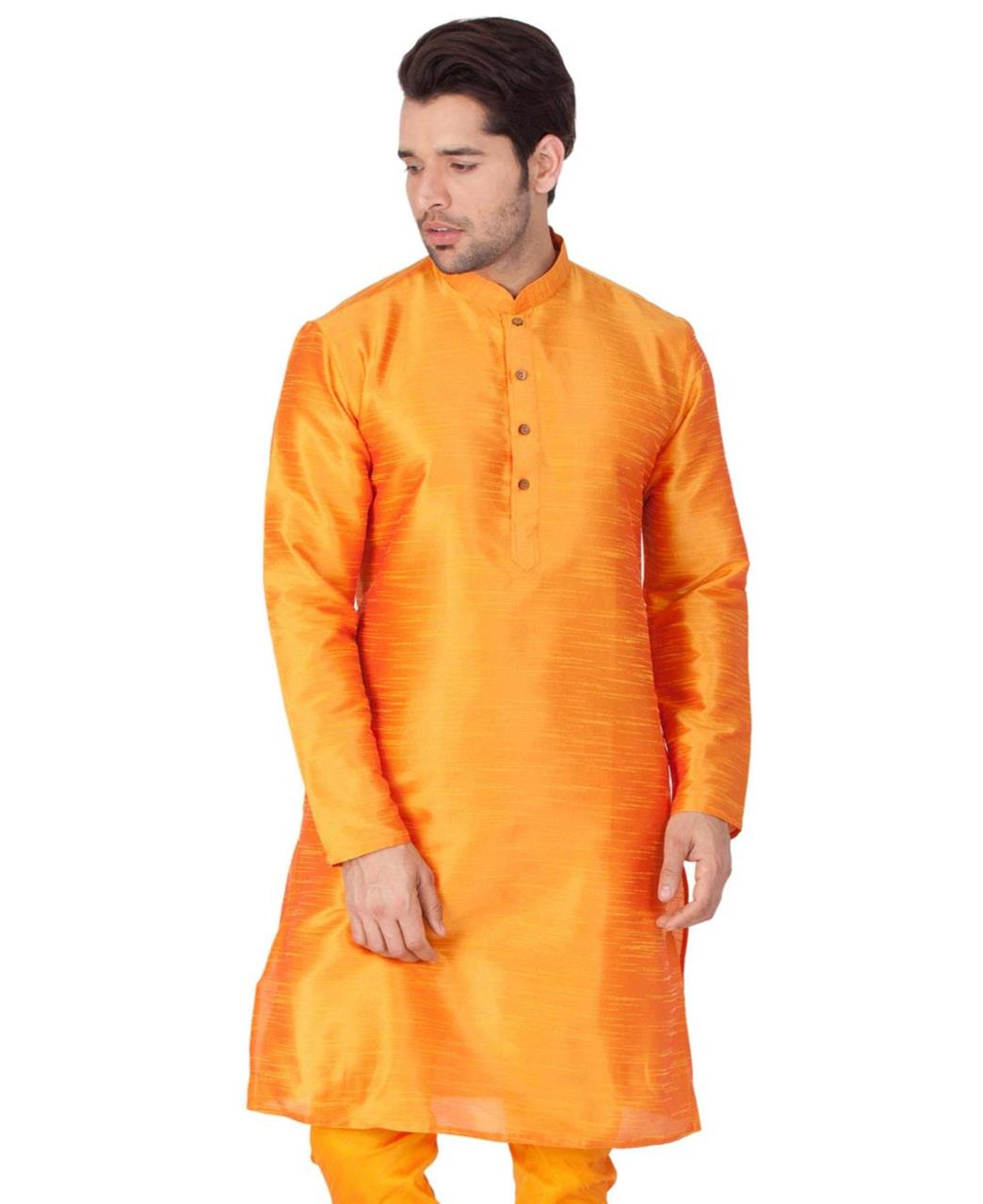 Plain Cotton Orange Kurta Pajama