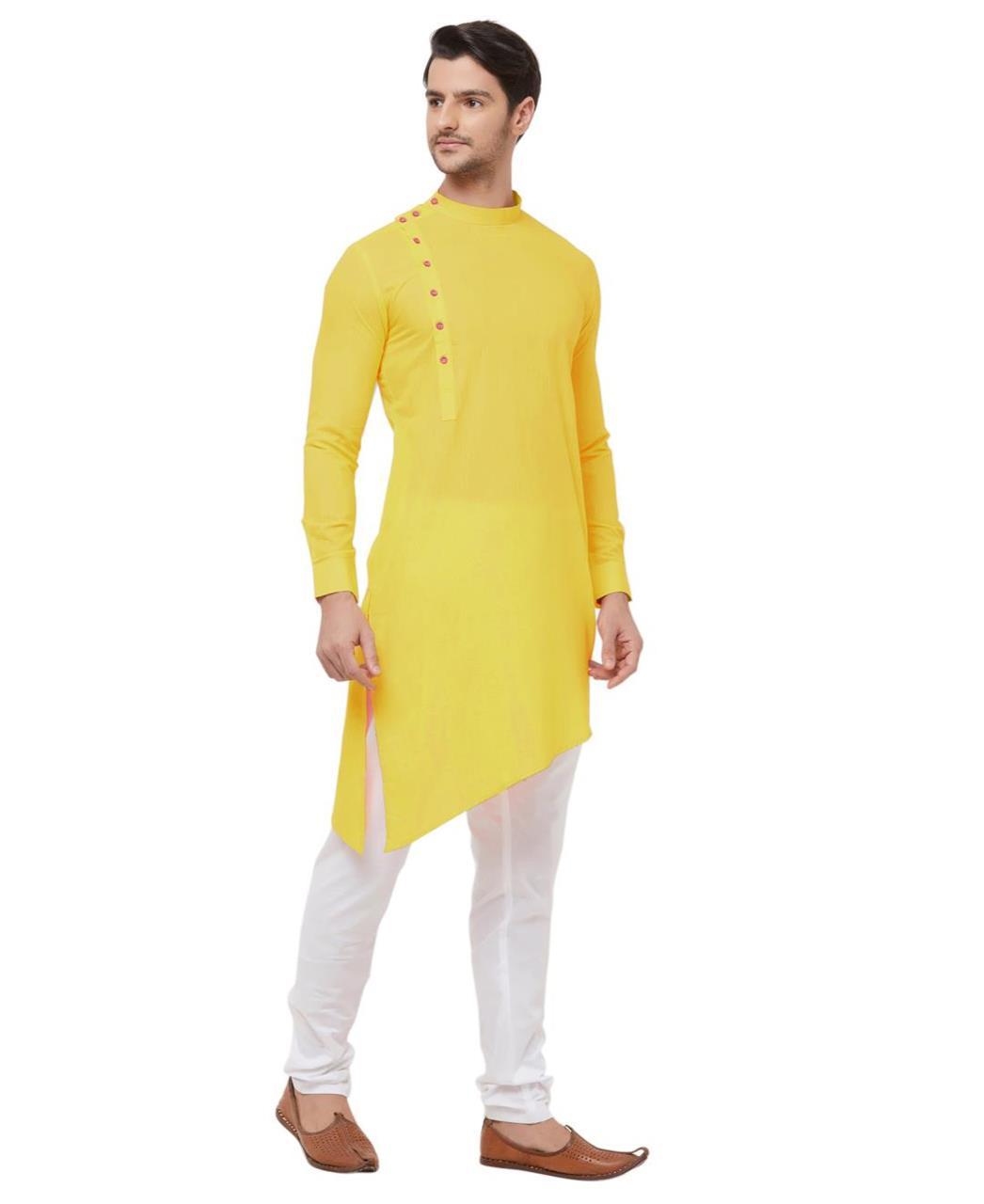 Plain Cotton Yellow Kurta Pajama