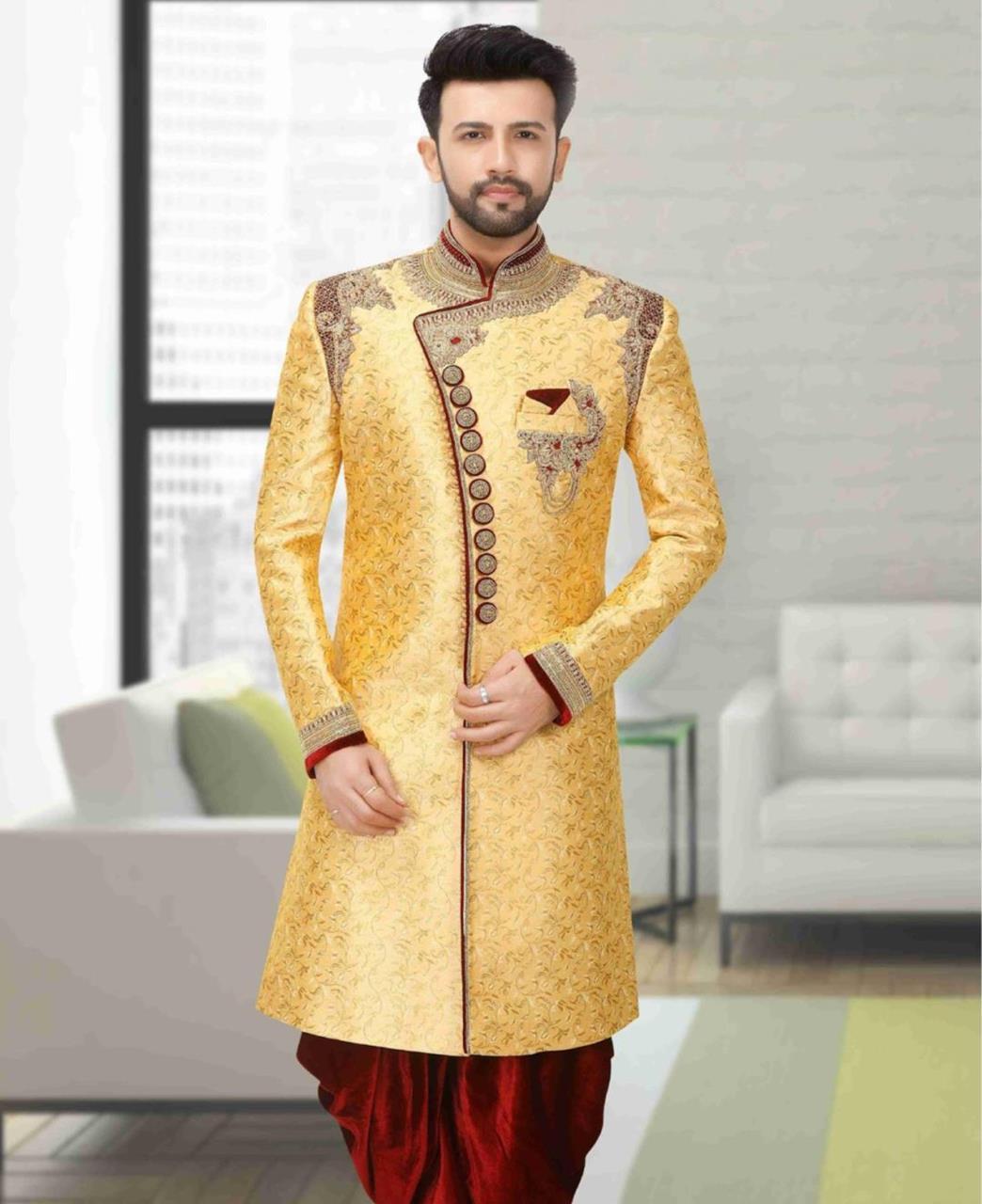 Jacquard Dupion Silk Yellow Kurta Pajama