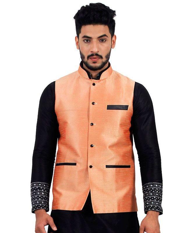 Plain Raw Silk Orange Mens Waist Coats
