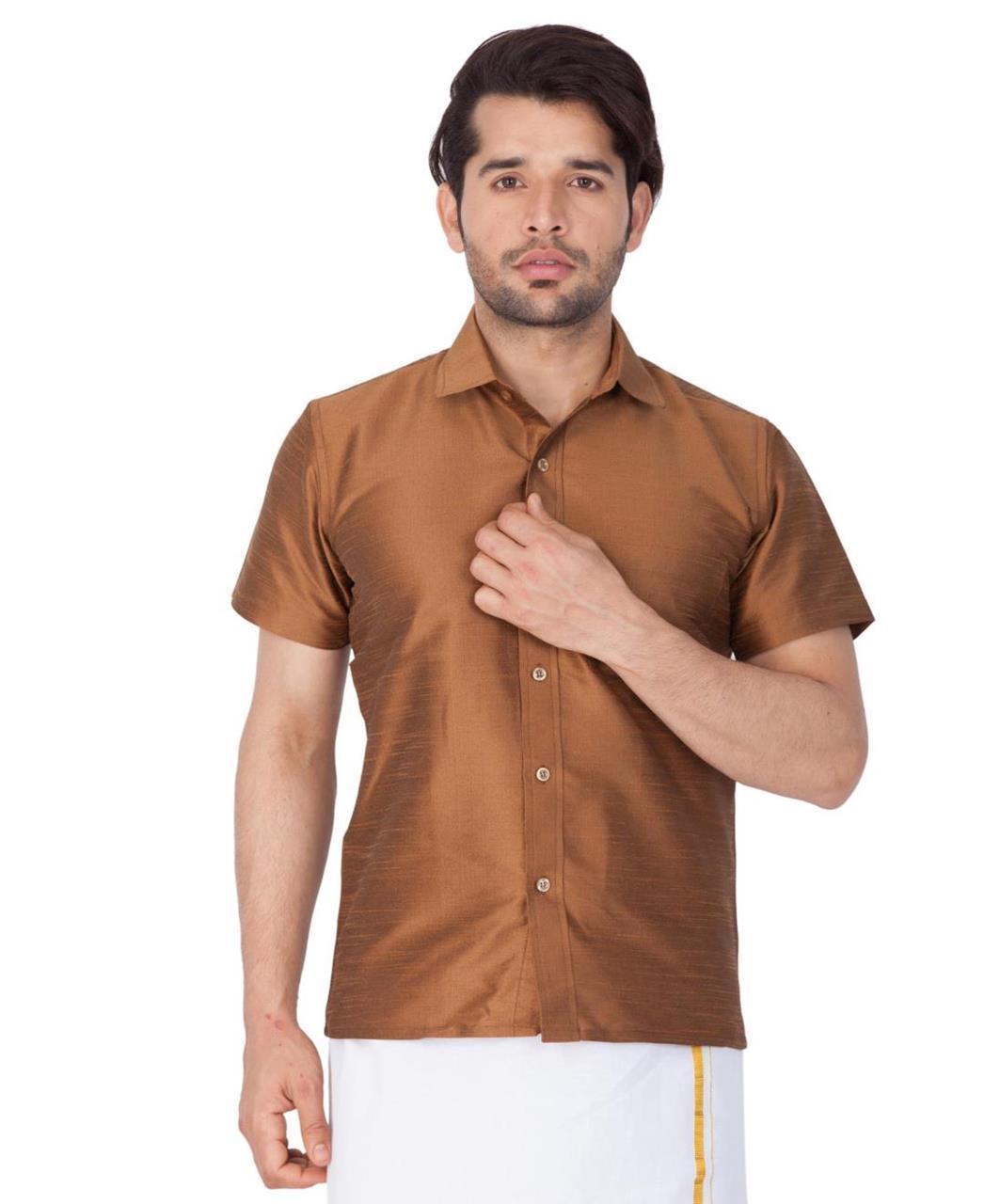 Plain Cotton Brown Dhoti