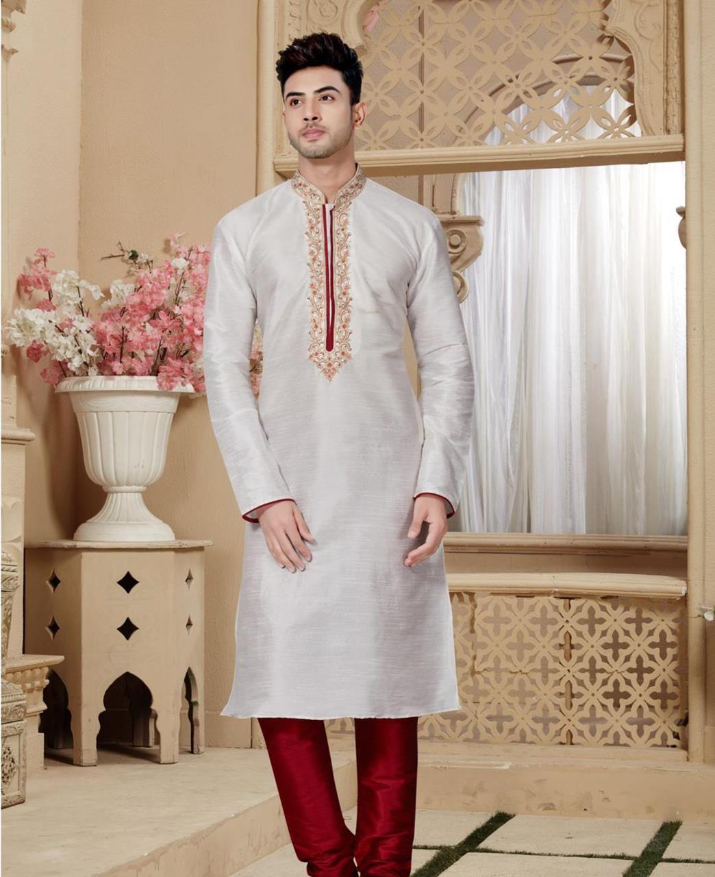 Plain Art Silk Offwhite Kurta Pajama