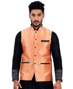 Plain Raw Silk Orange Mens Waist Coats
