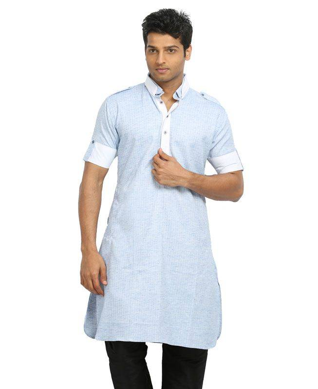 Lace Cotton Blue Mens Kurta Pajama