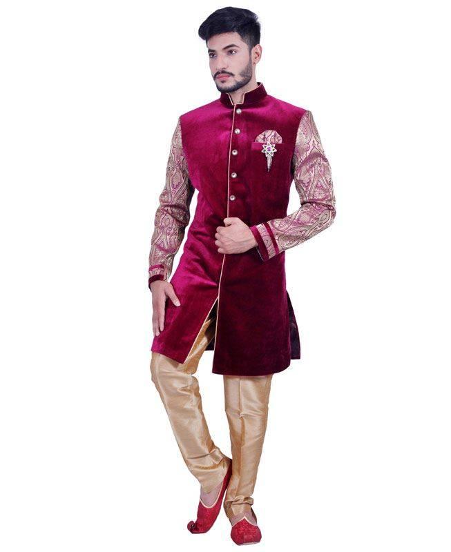 Plain Brocade Pink Mens Sherwani