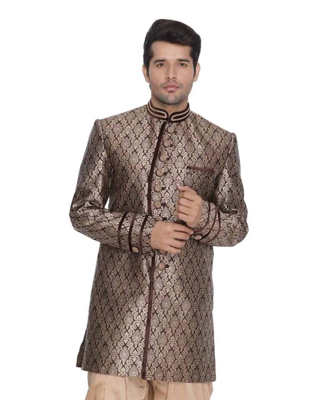Jacquard Cotton Brown Kurta Pajama