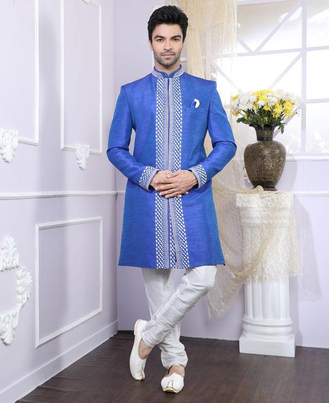 Printed Silk Blue Kurta Pajama