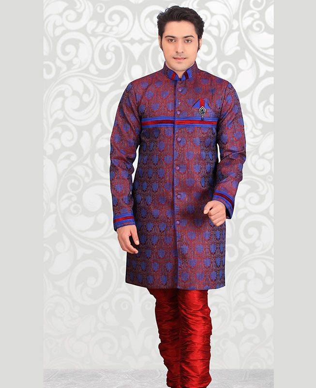 Plain Jacquard Blue Mens Sherwani