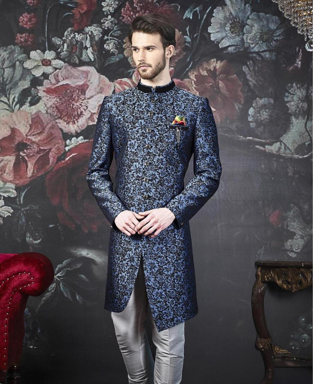 Embroidered Jacquard Blue Kurta Pajama