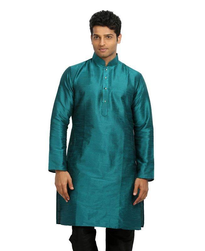 Plain Silk Blue Mens Kurta Pajama