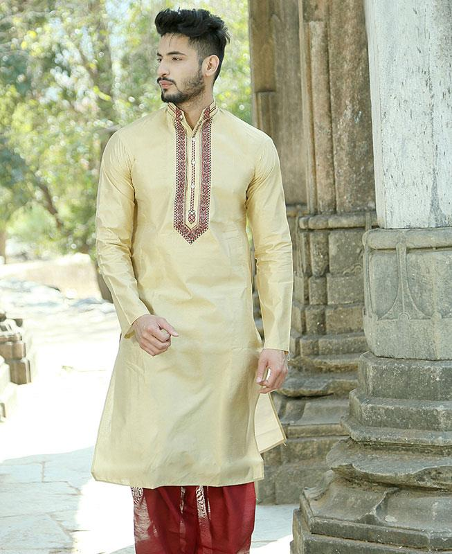 Embroidered Silk Gold Kurta Pajama
