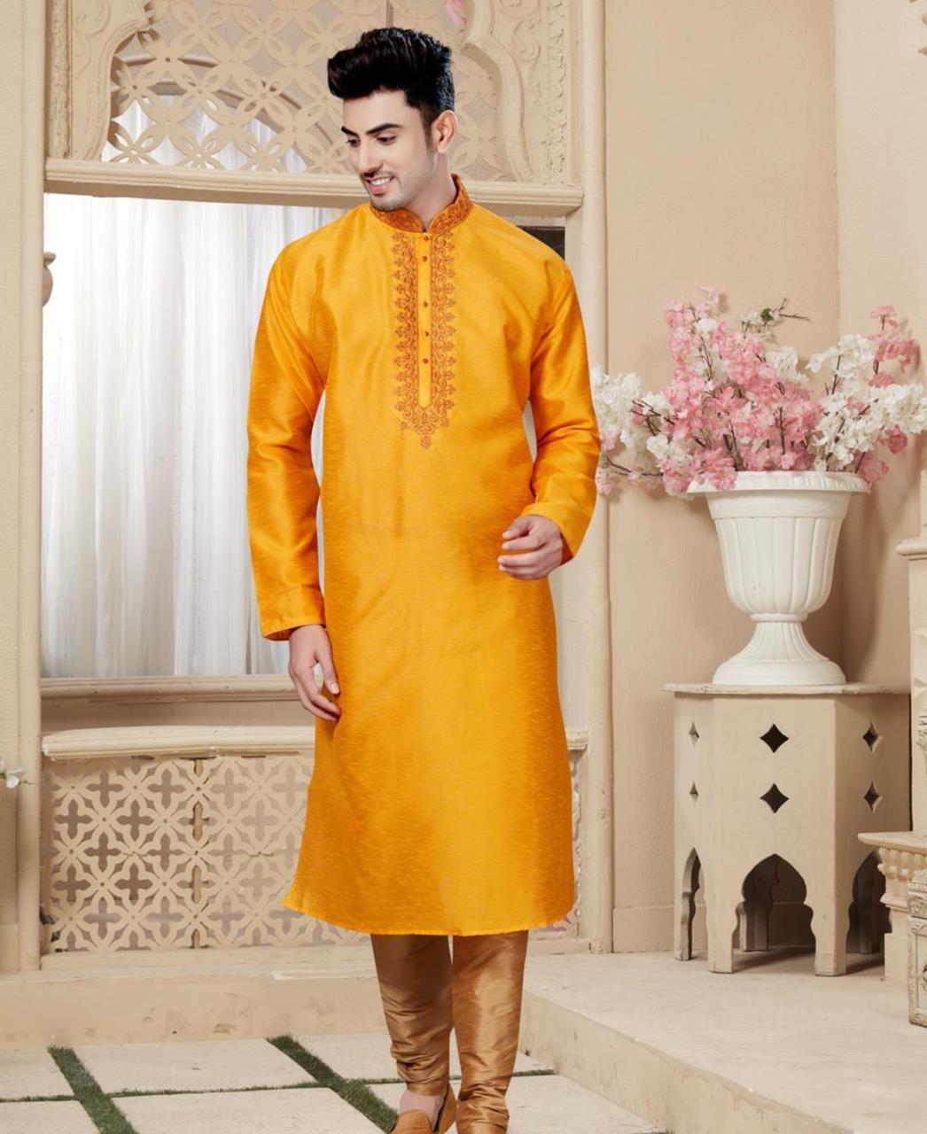 Plain Art Silk Yellow Kurta Pajama