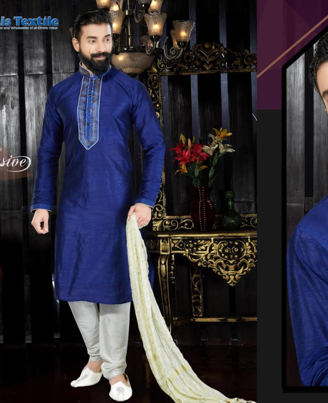 Embroidered Dupion Silk Blue Sherwani