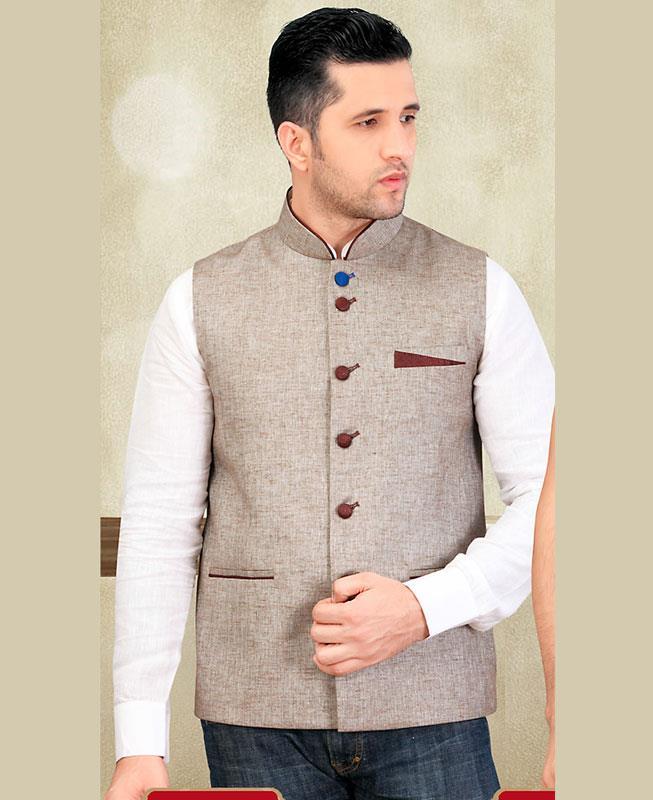 Thread Work Jute Silk Brown Mens Waist Coat