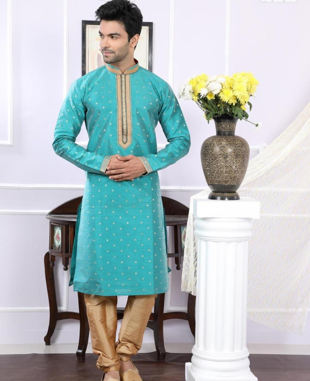 Printed Chanderi Turquoise Kurta Pajama