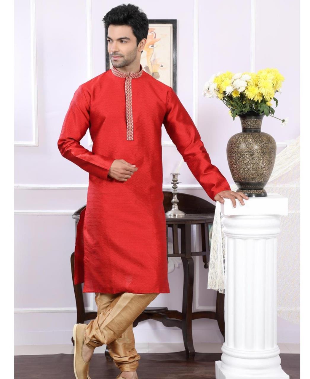 Plain Silk Red Kurta Pajama