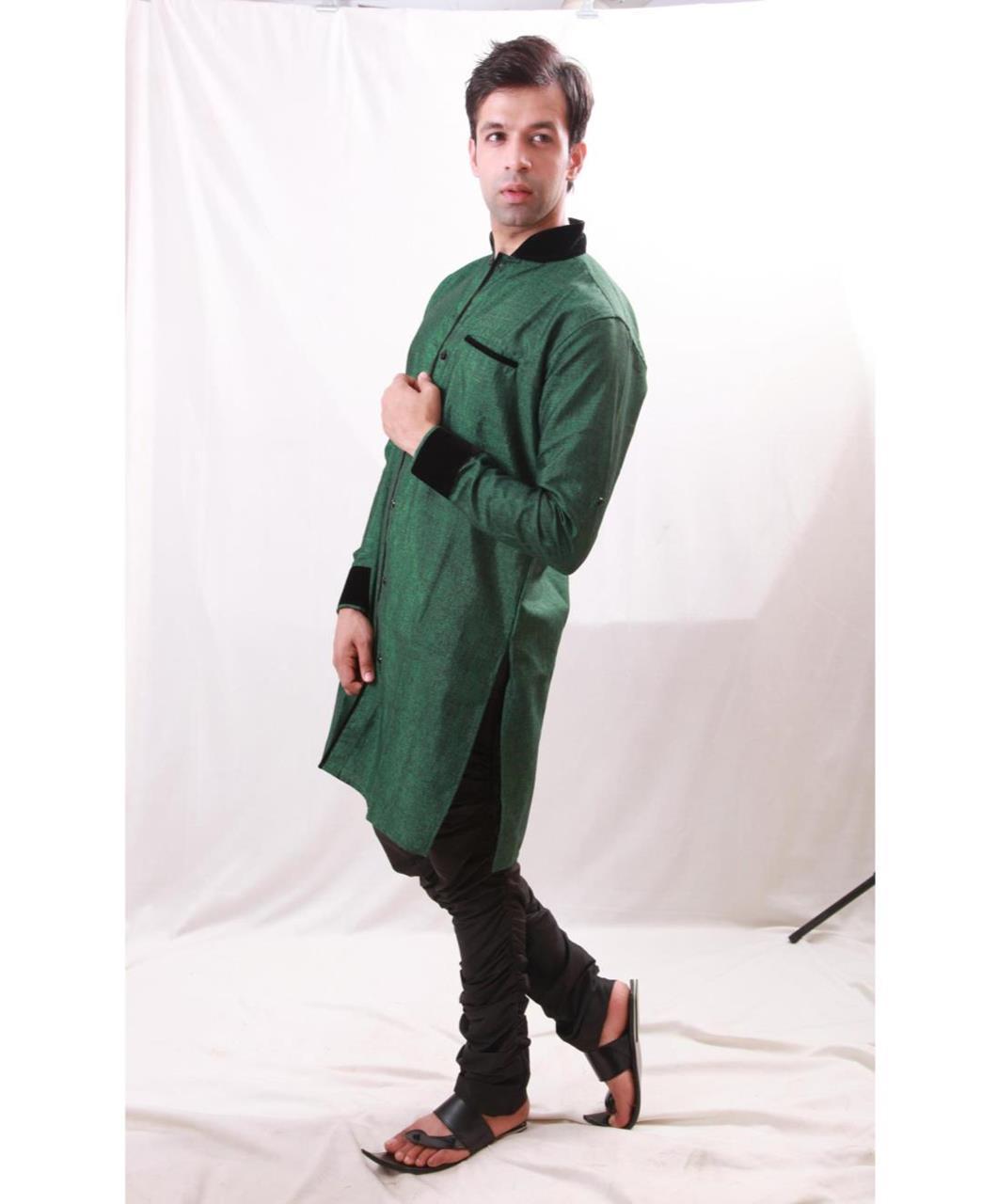 Plain Cotton Green Coats