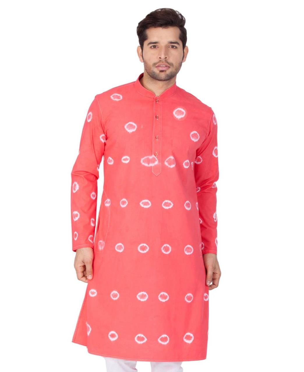 Printed Cotton Pink Kurta Pajama