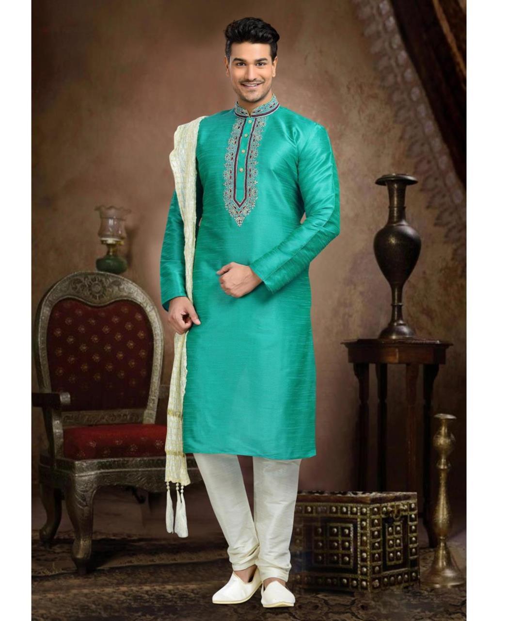 Plain Art Silk Green Mens Sherwani