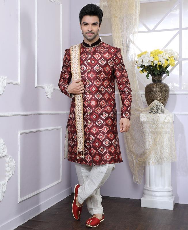 Jacquard Banarasi Silk Maroon Kurta Pajama