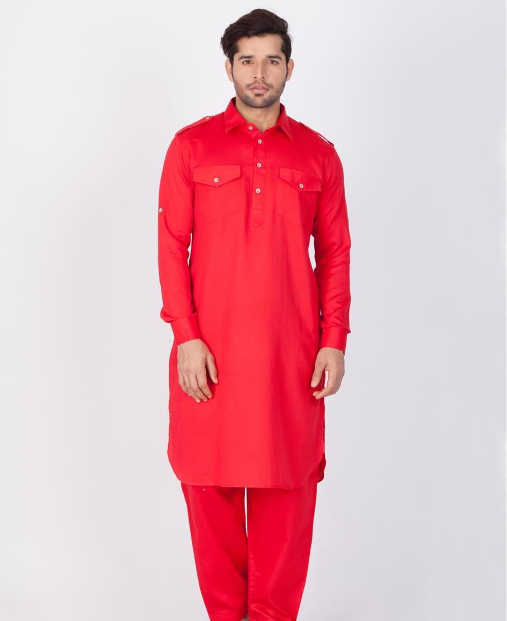 Button Work Cotton Red Kurta Pajama