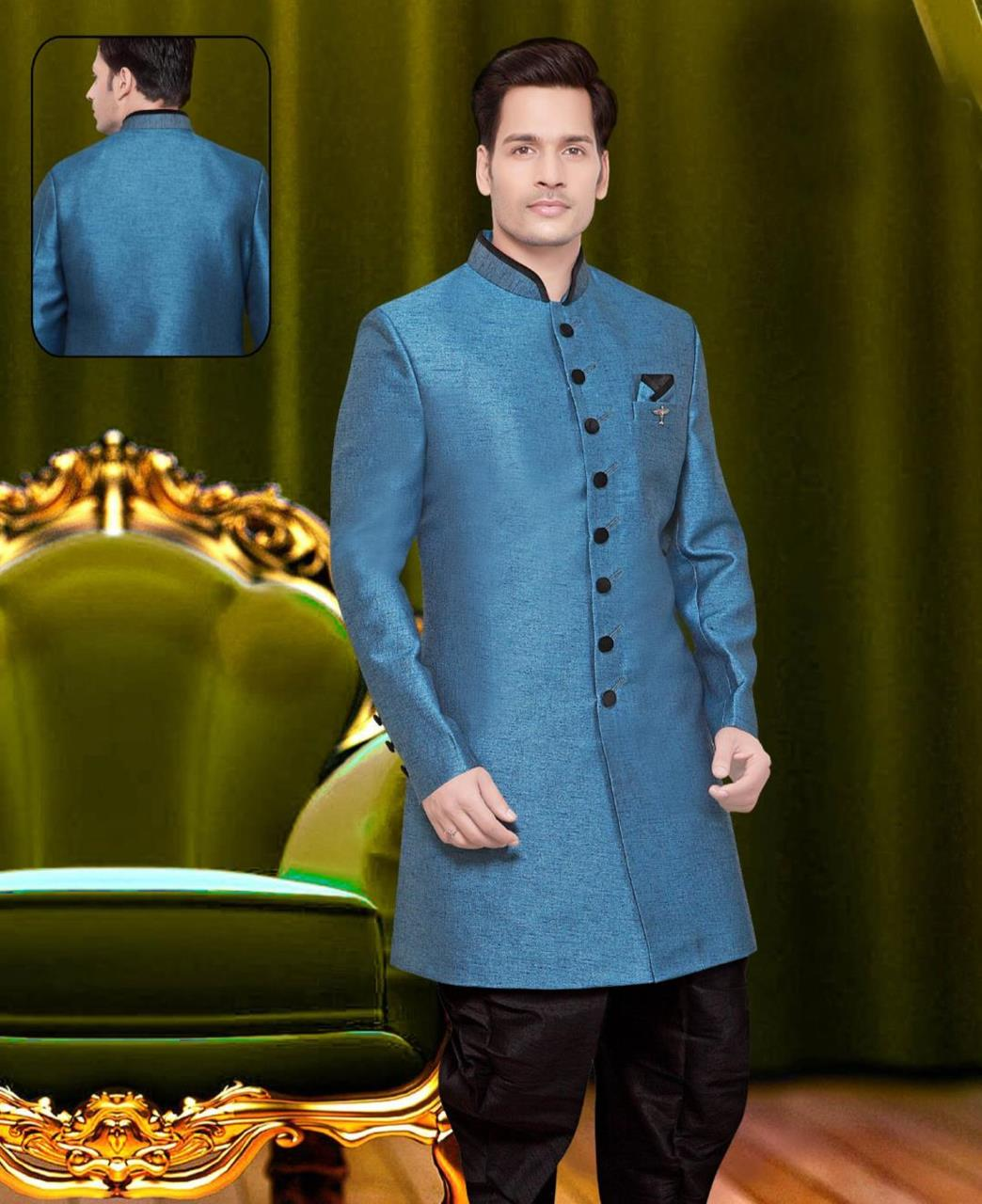 Plain Jute Silk Blue Sherwani