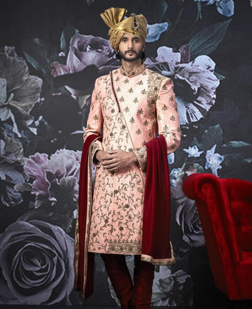 Embroidered Art Silk Pink Kurta Pajama