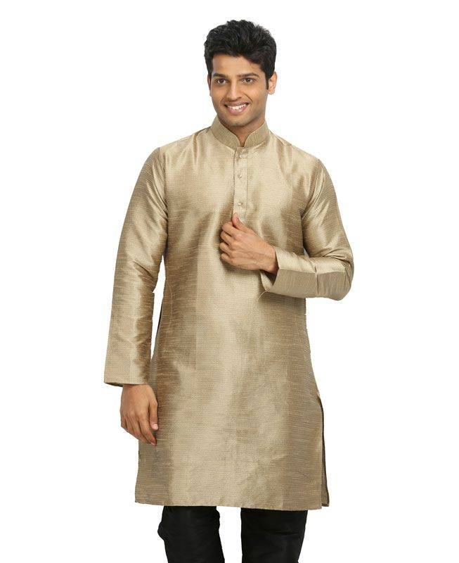 Plain Silk Cream Mens Kurta Pajama