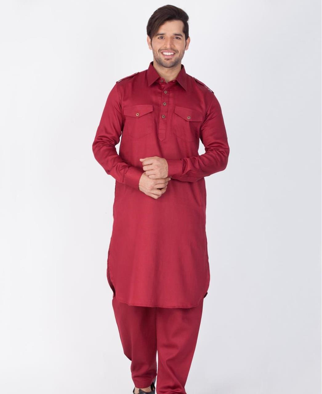 Button Work Cotton Maroon Kurta Pajama