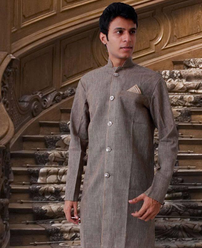 Plain Linen Brown Mens Kurta Pajama