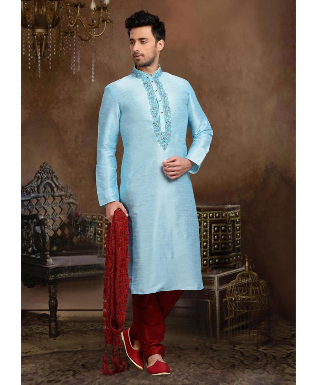 Plain Art Silk SKYBLUE Mens Sherwani