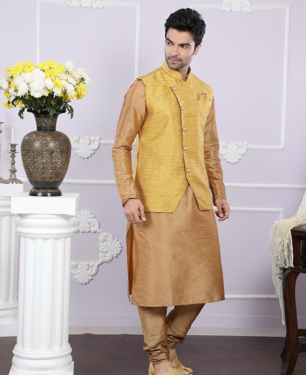 Printed Art Silk Yellow Kurta Pajama