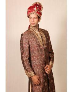 Embroidered Silk Brown Sherwani