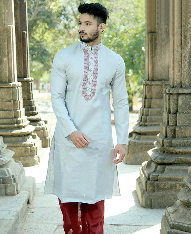 Embroidered Cotton Gray Kurta Pajama