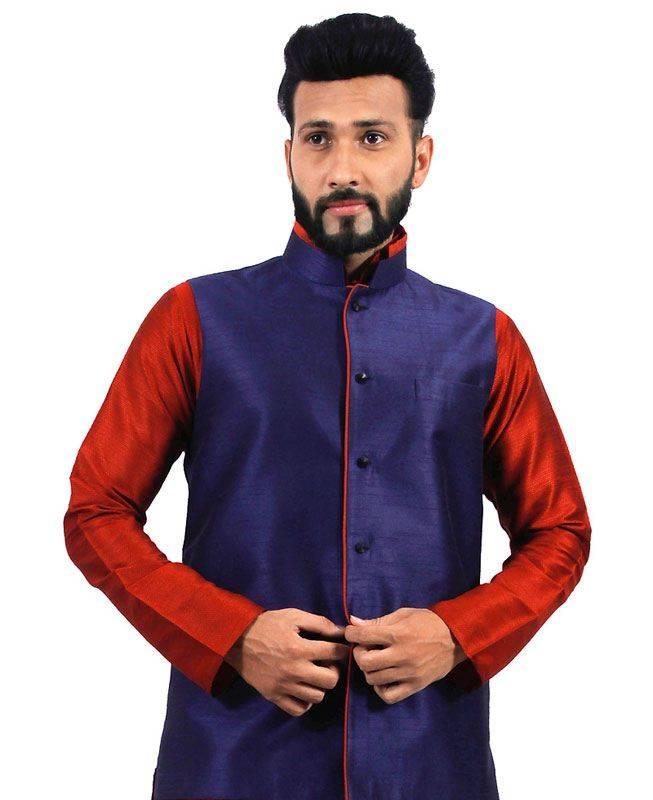 Plain Raw Silk Blue Mens Waist Coats