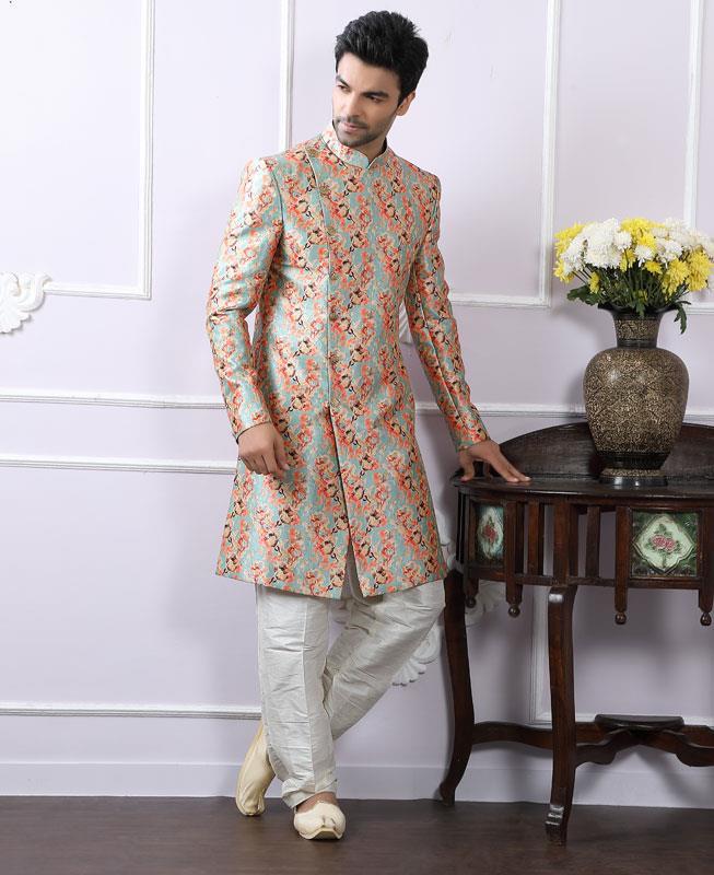 Printed Silk SKYBLUE Kurta Pajama