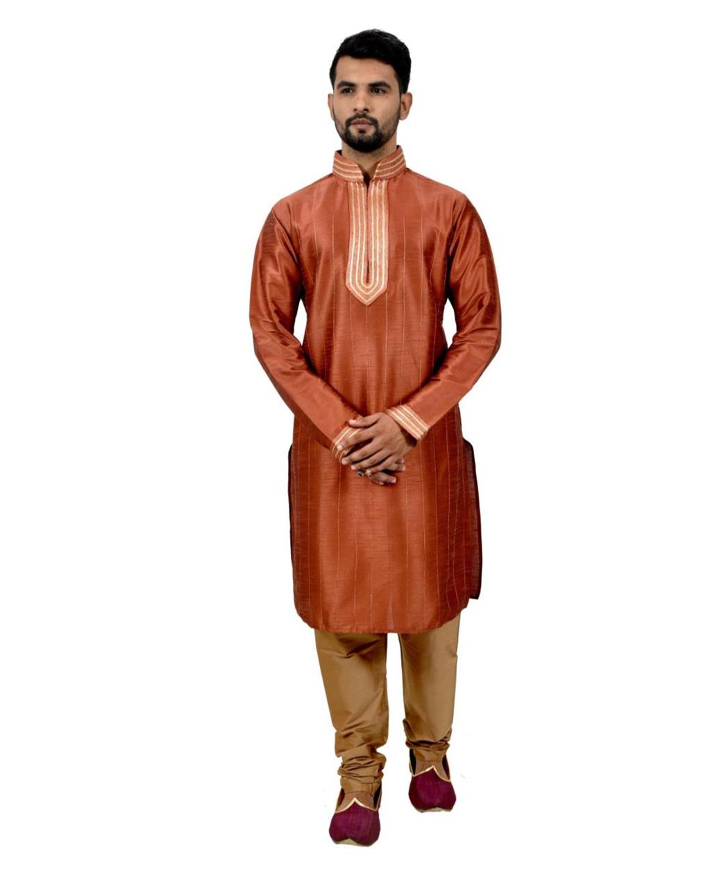 Cord Work Art Silk Brown Kurta