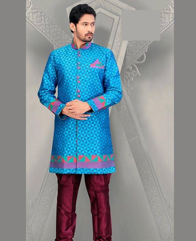 Lace Dupion Silk Blue Mens Sherwani
