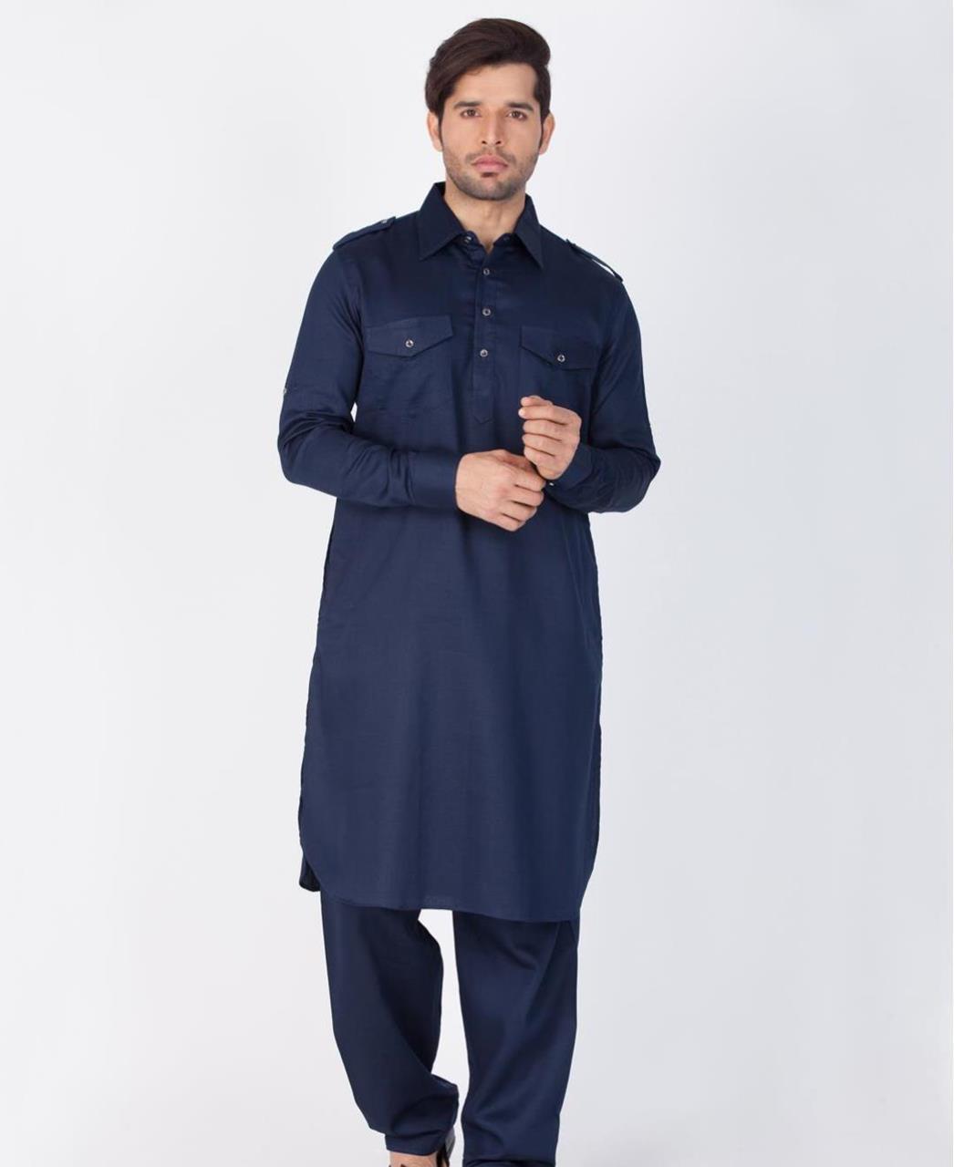 Button Work Cotton Blue Kurta Pajama