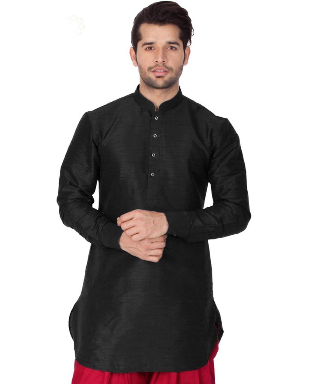 Plain Cotton Black Kurta Pajama
